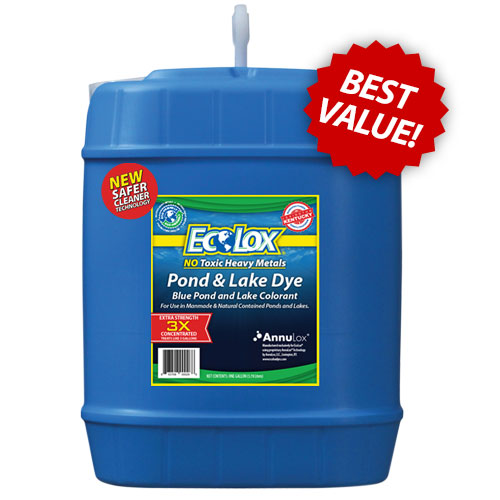 EcoLox Blue Pond & Lake Dye - 5 Gallon 3X Concentrate