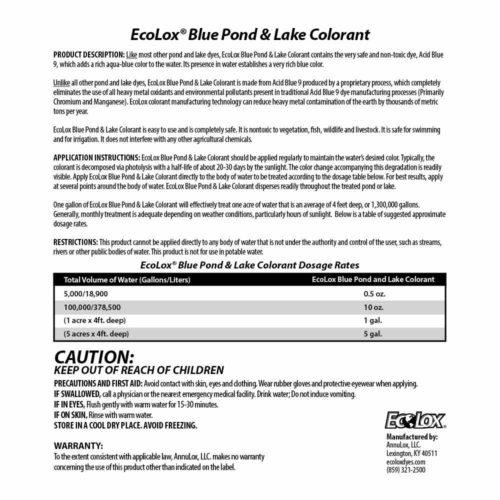 EcoLox Blue Pond Dye Back Label